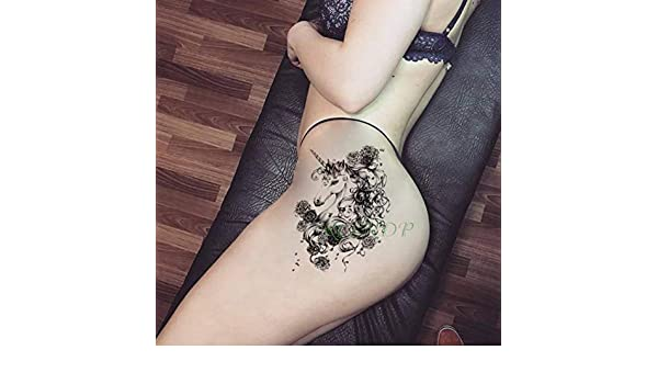 3 Piezas Etiqueta engomada del Tatuaje Flor roja Planta Arte ...