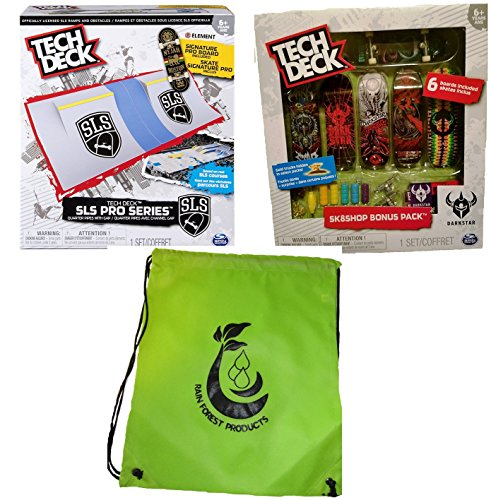 Pro Skate Decks - Tech Deck Bundle SLS Pro Series Skate Park Quarter Pipes, Sk8shop Bonus Pack (Style may vary) and bag