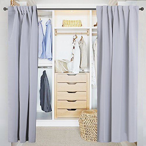 NICETOWN Changing Room Essential Privacy Room Divider Curtain Panel for Dress Shop / Boutique Store – 52″ by 84″ – Grey White
