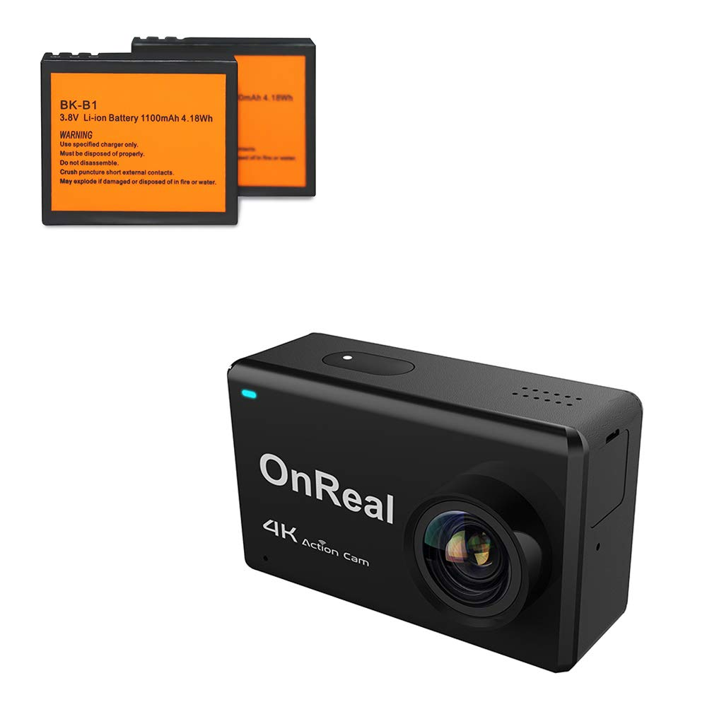 OnReal 4K Action Camera 2.45 inch Touch Screen WiFi Camera Underwater Camera 170 Degree Viewing Angle and with Two Batteries OnReal Tech Ltd B1-B