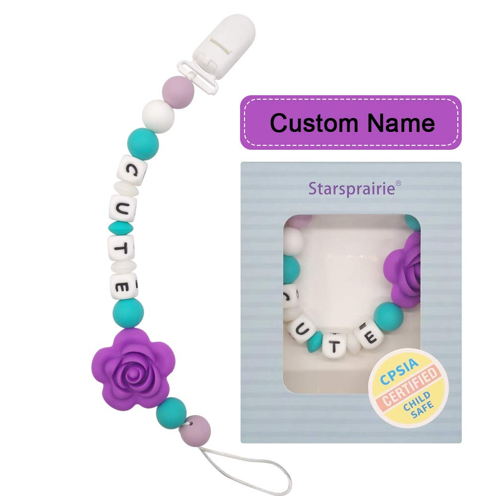 Chupetero Personalizado Para Bebe con Nombre Bola Silicona Antibacteria con Pinza (Púrpura)