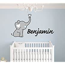"Personalized Name Elephant Nursery - Baby Girl Decoration - Mural Wall Decal Sticker For Home Interior Decoration Car Laptop (Wide 30"" x 16"" Height)"
