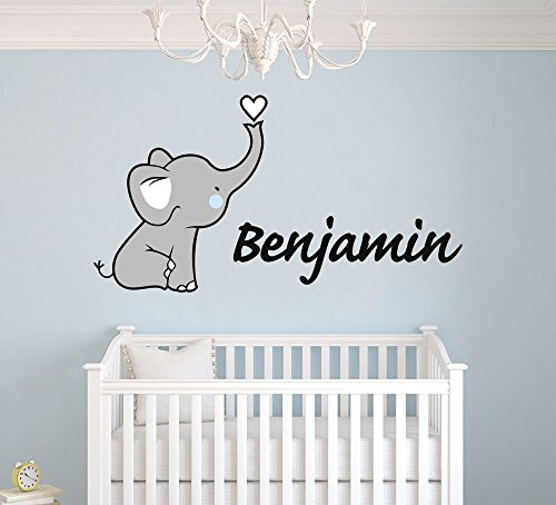 Elephant Tunes (Personalized Name Elephant Nursery - Baby Girl Decoration - Mural Wall Decal Sticker For Home Interior Decoration Car Laptop (Wide 30