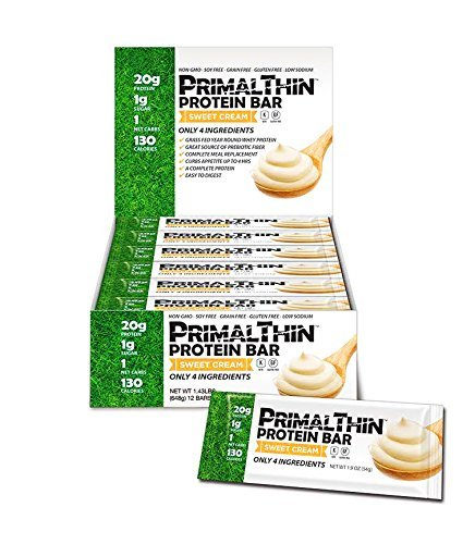 Primal Thin Protein Bars w/ 20g Organic Protein Grass Fed Whey (130 Cal, 1g Sugar, 1 Net Carb) (Gluten Free) (12 (1 Whey Protein)