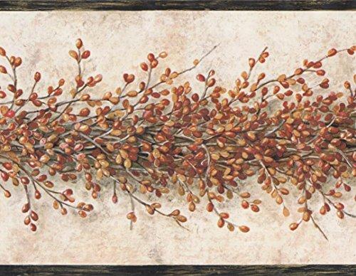 Yellow Red Pip Berry Garland Buttermilk Tan Wallpaper Border Retro Design, Roll 15' x 6