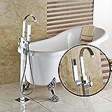 Votamuta Chrome Floor Mounted Clawfoot Bath Tub Filler Faucet Handshower Free Standing Single Handle Shower Mixer Tap