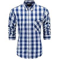 GoldCut Men's 100% Cotton Regular Fit Long Sleeve Button Down Plaid Dress Shirt