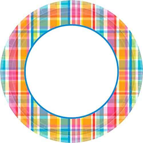 093353488963e Amscan Sun-Sational Summer Luau Party Bright Pastel Plaid Round Plates  Tableware