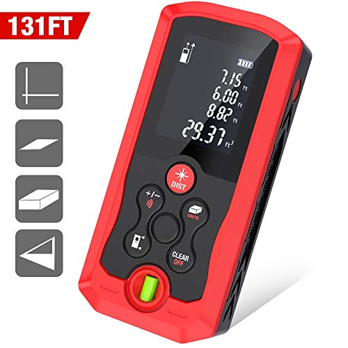 DinoFire Laser Measure 131FT M/in/Ft Super Precise Digital Laser Tape Measure Mute with Bubble Level, Backlit LCD Distance, Area, Volume,Pythagorean Anti-Crash Laser Measuring Device Tool Meter