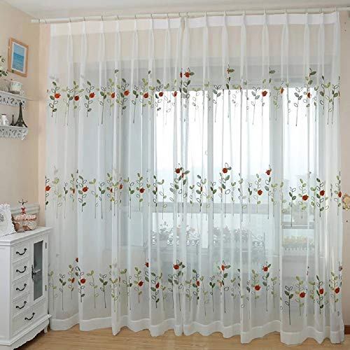 (Suntown Home Decorations Grommet White Sheer Curtain for Bedroom Ladybug Pattern Embroidery Window Panels/Treatment 96 inches Long for Living Room - 2 Pieces (Each Piece 53