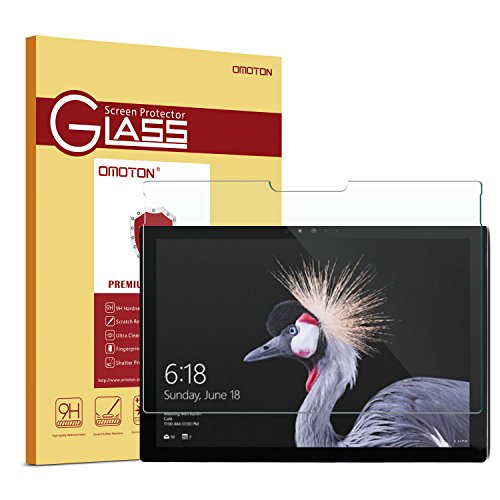 New Glass Screen - New Surface Pro 2017/Surface Pro 4 Screen Protector - OMOTON [High Responsivity] [Scratch Resistant] [Bubble Free] [High Definition] Tempered Glass Screen Protector