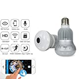 Jiusion Fisheye 360 Degree HD Wireless WIFI IP Hidden Panoramic Camera Spy Cam 960P HD Bulb Lamp Indoor Home Security Surveillance for iPhone Android PC