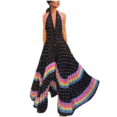 Vestido de Mujer Sexy con Cuello en V Falda Plisada Impresa ...
