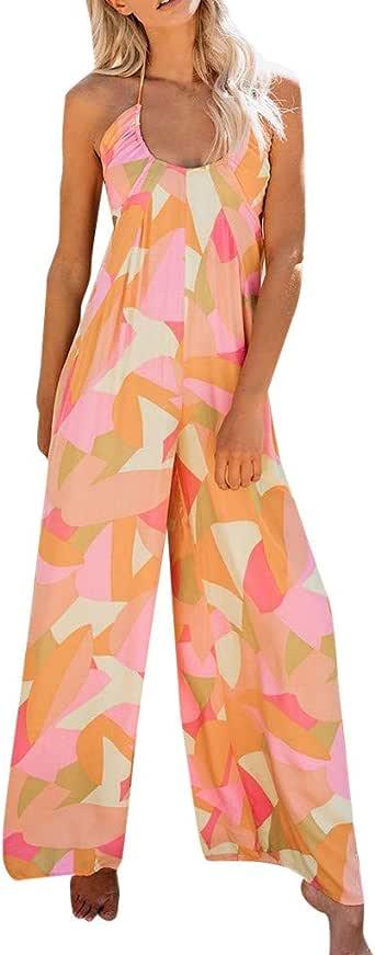 Fubotevic Women V-Neck Floral Printed Backless Shawl Beach Short Jumpsuit Romper