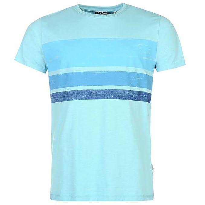 Pierre Cardin Hombres Camiseta 100% Algodón con Cuello Redondas Ajuste Regular Estampado de Rayas - Multicolor - Mediano - 3X… mlK5UwQox