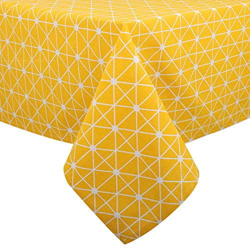 Lewondr Checked Tablecloth, Rectangular Cotton Linen Dust-Proof Washable Table Cover Kitchen Tabletop Stylish Cloth 55 x 118 Inch for Picnic Restaurant Party - Yellow