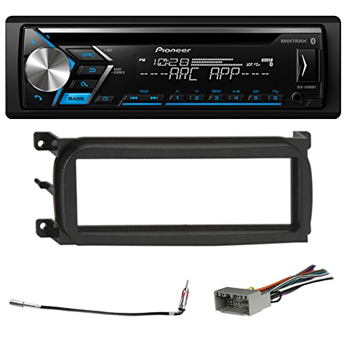 Pioneer Bluetooth In-Dash CD Car Stereo Audio Receiver Bundle Combo w/ Metra 99-6503 Installation Kit for 1998-Up Chrysler/Dodge/Jeep Vehicles, Antenna Adapter Cable, Radio Wiring Harness