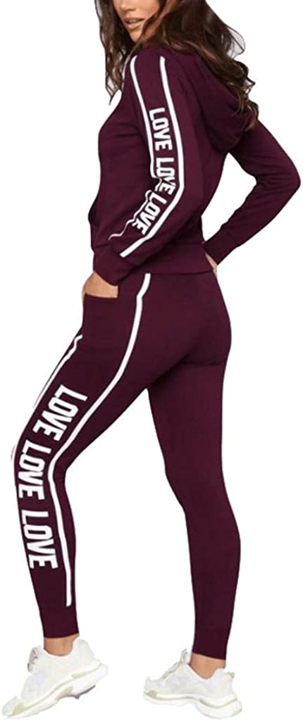 Fashion Women Casual Stripe Zipper Long Sleeve Pullove Sport Tops+Long Pants Set