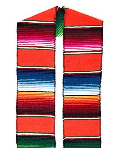 Authentic Mexican Serape Stole Sash For Graduation by Mexitems (Pick Your Color) (Orange) ()