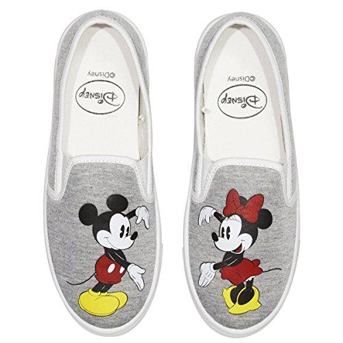 Disney Junior Teen Girls Lage Top Mickey En Minnie Fashion Sneakers (meer Ontwerpen En Maten) Heather Grey