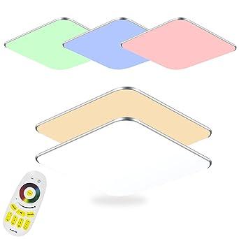 SAILUN 36W Dimmbar Und RGB LED Deckenleuchten Silber Deckenlampe Für  Schlafzimmer Wohnzimmer Flur Küche (36W
