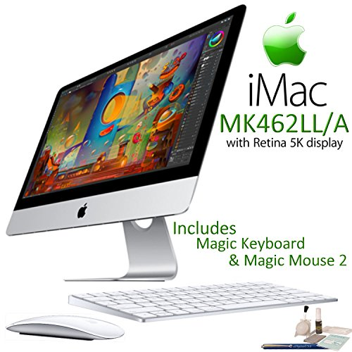 Price comparison product image Apple iMac MK462LL/A Retina 5K Display Desktop Computer Starters Bundle: Includes Apple Magic Keyboard (MLA22LL/A) & Magic Mouse 2 (MLA02LL/A) and more.