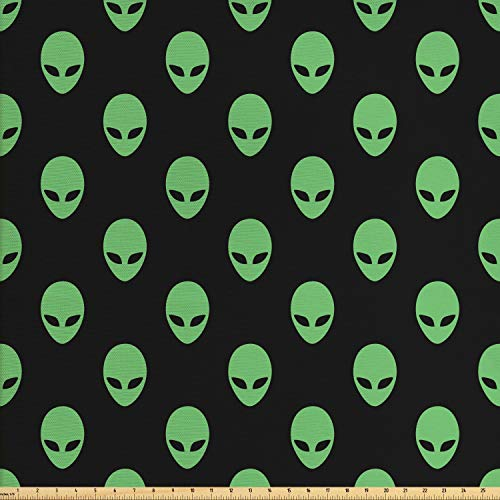 Ambesonne Alien Fabric by The Yard, Supernatural Martians Fantastical Beings from Other Planets Head of an Alien, Decorative Fabric for Upholstery and Home Accents, 1 Yard, Fern Green Black ()