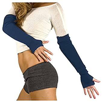 Denim Arm Warmers by KD dance Warm Cozy Stretch Knit Thumb Hole Made In USA