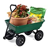 GreenWise™ Garden Dump Cart with Steel Frame and 10-inch Pneumatic Tires Poly Bed 440-Pound Capacity, Green