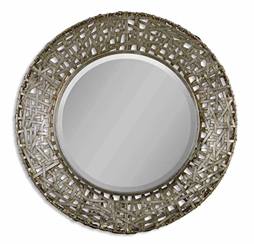 Silver Champagne Messed Metal Wall Mirror | Open Round Vanity