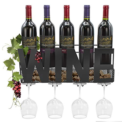 (Sorbus Wine Bottle Stemware Glass Rack Cork Holder Wall Mounted - Elegant Storage for Kitchen, Dining Room, Bar, Wine Cellar (Wine - Black))