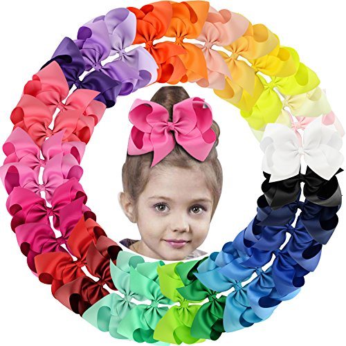 30Pack 6in Grosgrain Ribbon Hair Bows Baby Girl's Clips Large Big Hair Bows Clips For Baby Girls Teens Toddlers (Girl Hair Decoration)