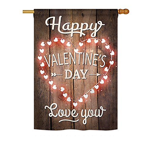Happy Valentines Day Applique Flags (Happy Valentine's Day Vertical House Large Outdoor Decoration Flag 28