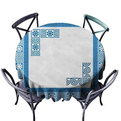 Mannwarehouse Greek Key Polyester Tablecloth Frame with Traditional Vintage Blue Square with White Flowers and Fret Pattern Great for Buffet Table D71 Blue White