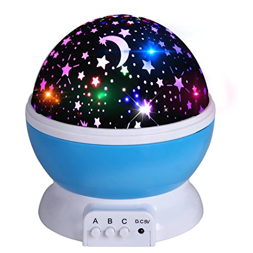 Night Light Projector, Romantic Colorful Cosmos Starlight Desk Lighting Projector for Baby Nursery Bedroom Children Room Kids Gift by Discoball(Blue)