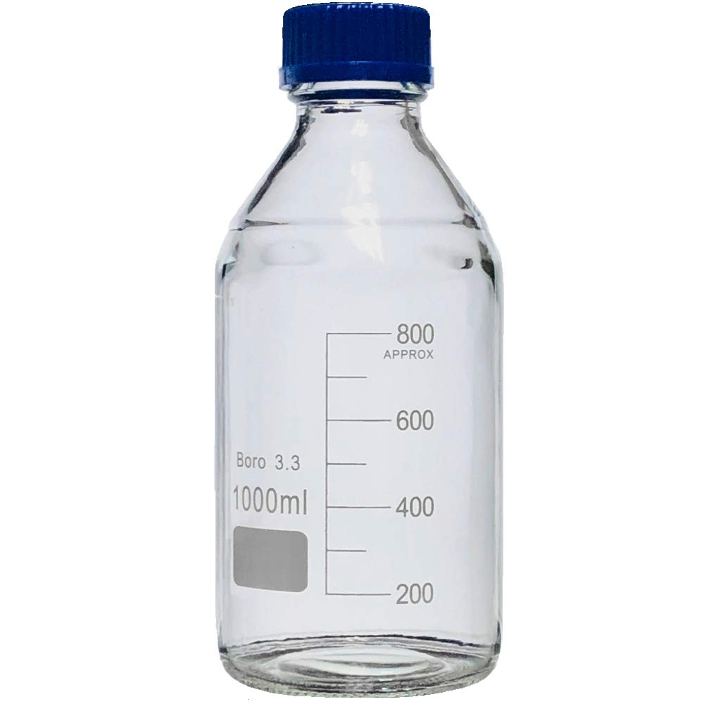 1000ml Glass Round Media Storage Bottles with GL45 Screw Cap, 3.3 Borosilicate Glass, Karter Scientific 232J5 (Pack of 6) by Karter Scientific