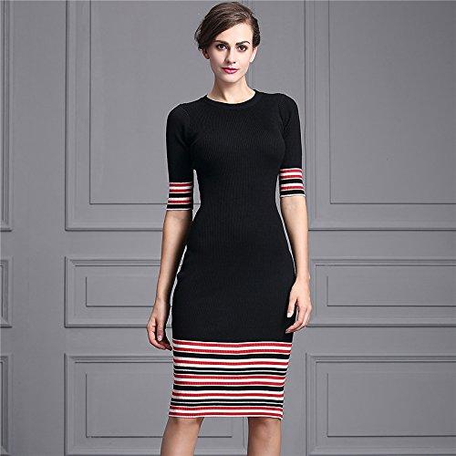 Striped Round Neck JIALELE Womens Daily Street Chic Sheath Knee-Length Dress