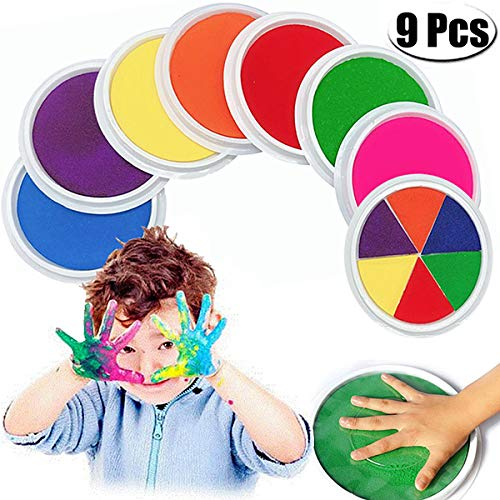 PartyYeah 9-Pcs Multicolors Baby Ink Pad for Baby Footprints Handprints Fingerprints Kit, Perfect Keep Baby Memory Baby Shower Gift