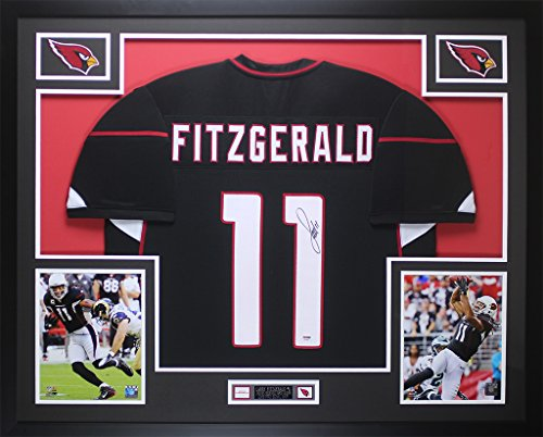 Arizona Cardinals Autographed Jersey - Larry Fitzgerald Autographed Black Arizona Cardinals Jersey - Beautifully Matted and Framed - Hand Signed By Larry Fitzgerald and Certified Authentic by PSA - Includes Certificate of Authenticity