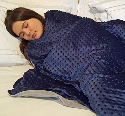 Cheap SlumberCovers Weighted Blanket for Kids 7 lbs (for Kids 40 to 80 lbs). Includes 2-Sided Dotted Minky Cover 41 x60 Navy Blue and Gray. PerfectStay Keeps Weighted Beads in Place. Black Friday & Cyber Monday 2019