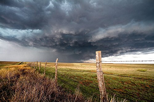 Texas Thunderstorm Photography Art Print - Picture of Storm in Western Sky Above Barbed Wire Fence Rustic Decor Artwork for Home Decoration 5x7 to - Store Photo Amarillo