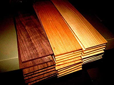 "(Woodworking Lumber) MULTIPAK (27) KILN Dried Sanded Thin Walnut, Cherry, Hickory 12"" X 3"" X 1/8"""