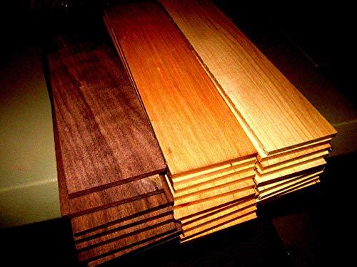 (Woodworking Lumber) MULTIPAK (12) Long KILN Dried Sanded Thin Walnut, Cherry, Hickory 24 X 3 X 1/4