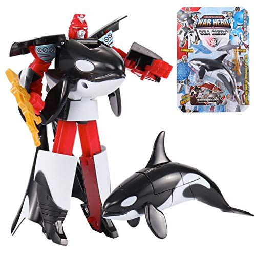 Chartsea Shark Action Figure Toy Ocean Animal Transformer Robot Gift for 3 Age+ Children Boys (Black)