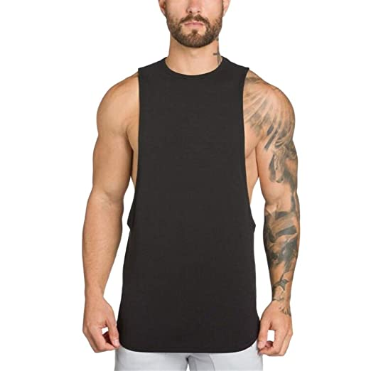 ce46d964 Men's Large Size Back Letter Print Irregular Tank Tops Off Shoulder Sleeveless  Tops Sporty Casual T-Shirt: Electronics