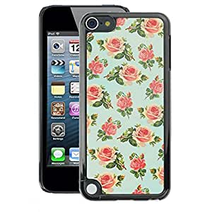 A-type Arte & diseño plástico duro Fundas Cover Cubre Hard Case Cover para Apple iPod Touch 5 (Mint Green Floral Rose Wallpaper Retro)