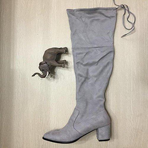 J. Adams Nydelige Blonder Opp Over Kneet Boot - Vegan Semsket Lår Høy - Trendy Høy Hæl Sko - Koko Av Svart Lycra