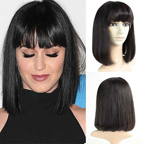 Brazilian Short Lace Front Wigs Human Hair Bob Wigs for Black Women Natural Color Silky Straight Hair Wigs with Bangs TopFeeling by Top Feeling (Image #6)