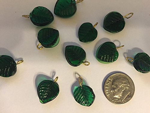 Handmade: 21 Emerald Green Leaf Palm Pressed Leaves Beads Silver Plated Loop Findings Jewelry Making, Costumes,Crafts,Curtains,Beads Necklaces, Earrings Etc 12mmx30mm (Emerald Green Small Gold Hook)