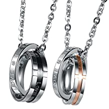 UM Jewelry His and Hers Stainless Steel Crystal Cross Engraved Double Rings Couples Necklace 19.68""